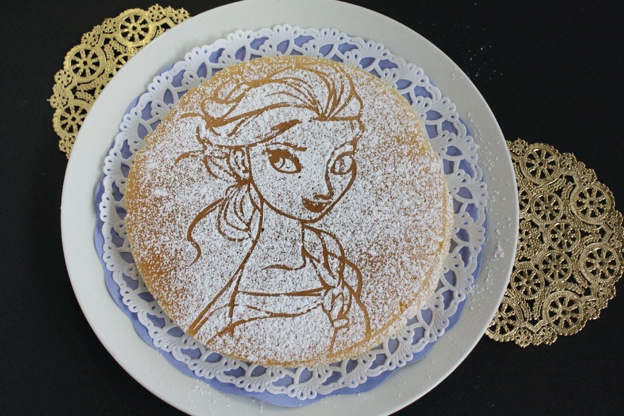 Pancake with Ice Queen Image in Powdered Sugar